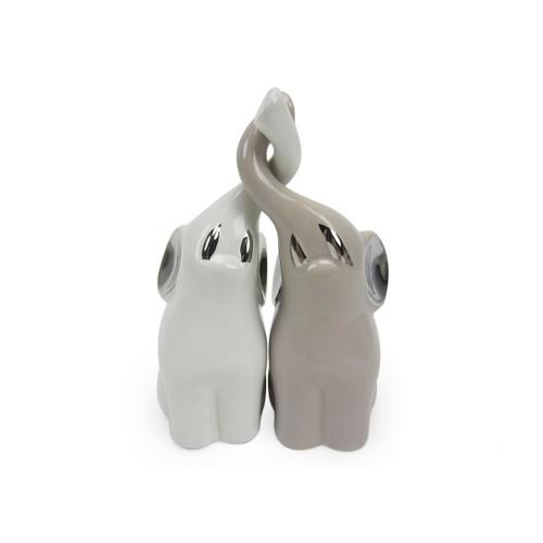 Coppia elefantini piccoli bianco/tortora