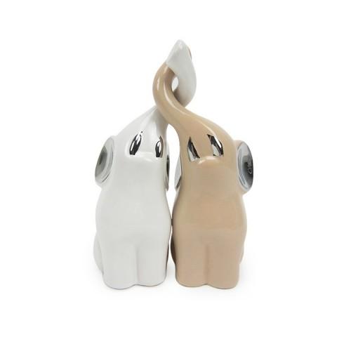 Coppia elefantini piccoli bianco/crema