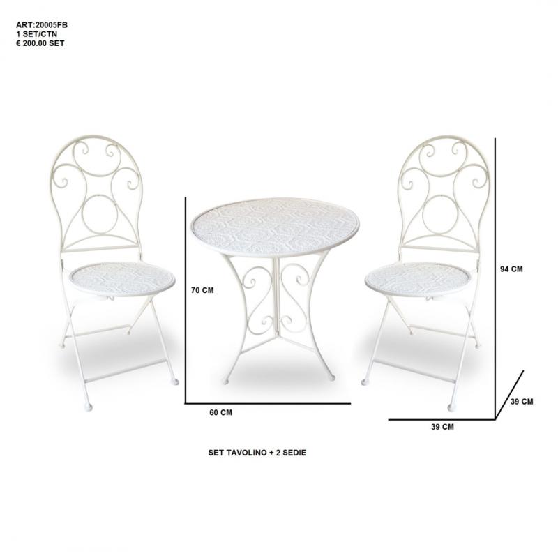 Set bianco Tavolino + due sedie