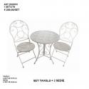 Set crema Tavolino + due sedie