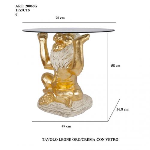 Tavolo Leone oro/crema con vetro