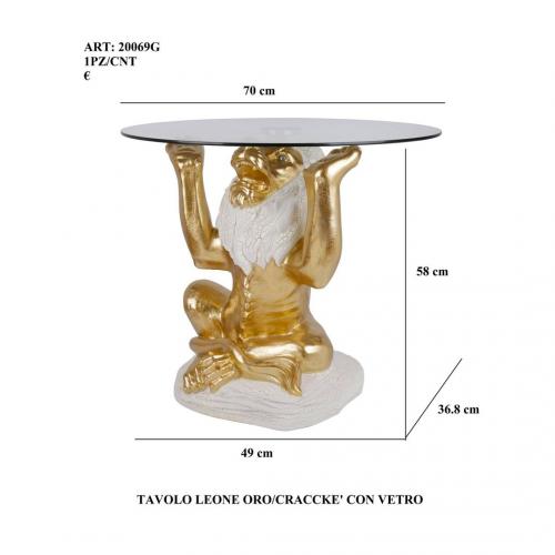 Tavolo Leone oro/cracckè con vetro