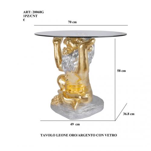 Tavolo Leone oro/argento con vetro