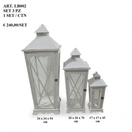 Set 3 lanterne shabby chic